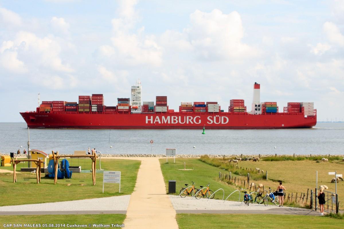CAP SAN MALEAS aufgenommen am 05.08.2014 bei Cuxhaven Höhe Altenbruch