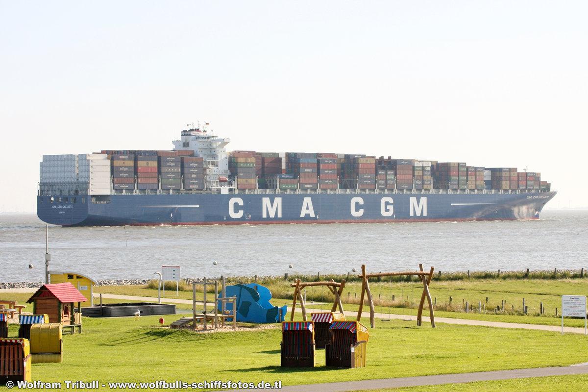 CMA CGM Callisto aufgenommen am 13. August 2012 bei Cuxhaven Höhe Altenbruch