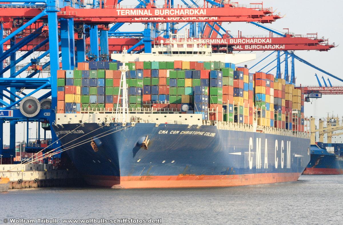 CMA CGM CHRISTOPHE COLOMB aufgenommen am 29. August 2012 bei Hamburg Höhe Container Terminal Burchardkai