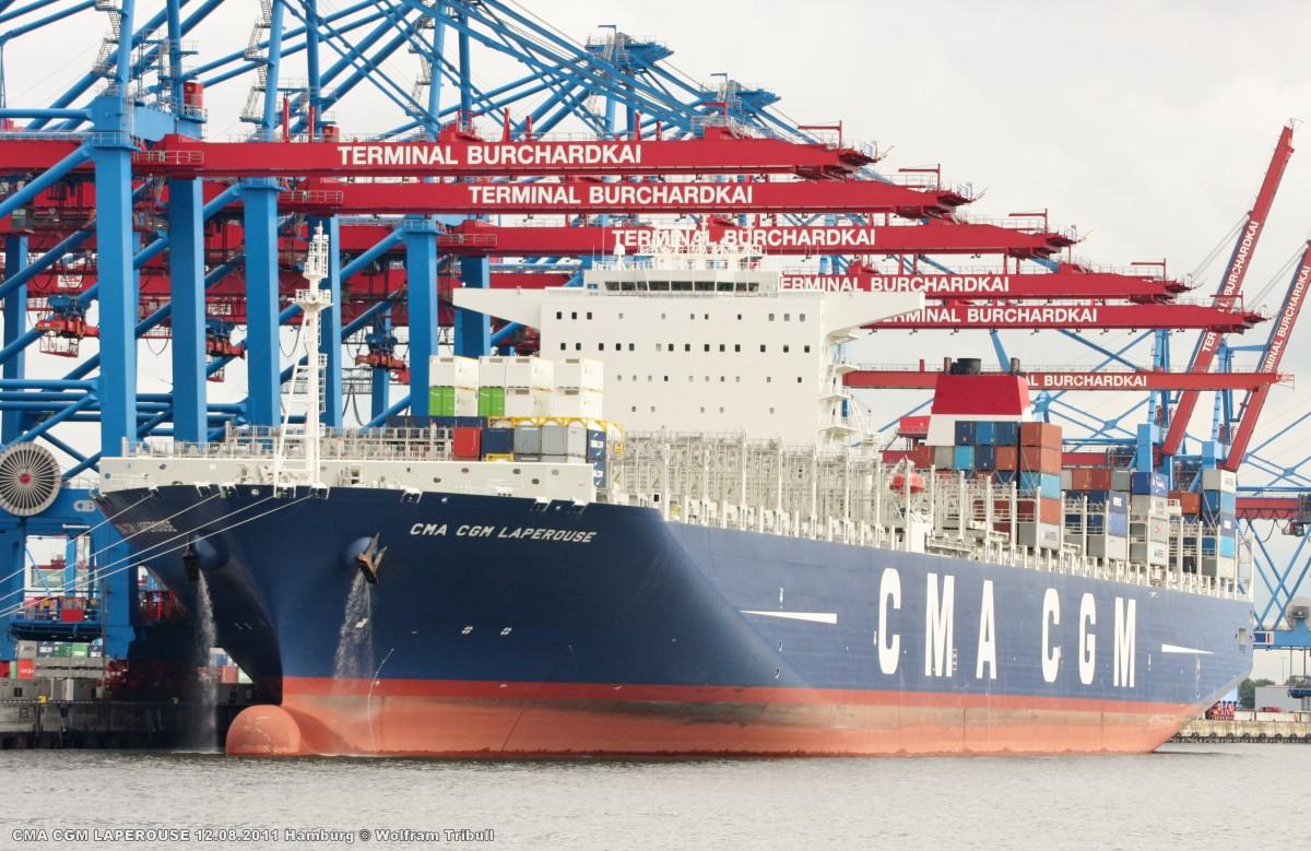 CMA CGM LAPEROUSE aufgenommen am 12.08.2011 bei Hamburg Höhe Container Terminal Burchardkai