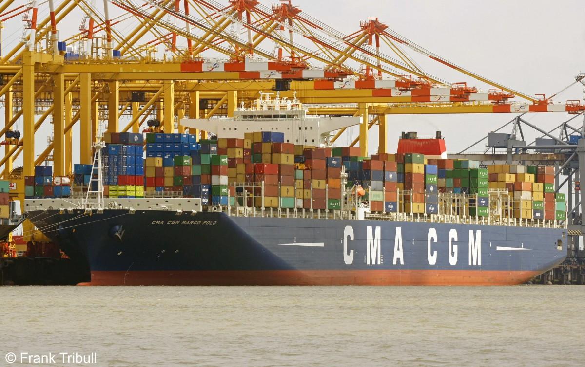 CMA CGM Marco Polo aufgenommen am 03.08.2013 im Hafen von Bremerhaven