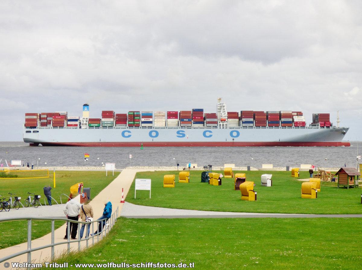 COSCO DENMARK aufgenommen am 31. Juli 2015 bei Cuxhaven Höhe Altenbruch