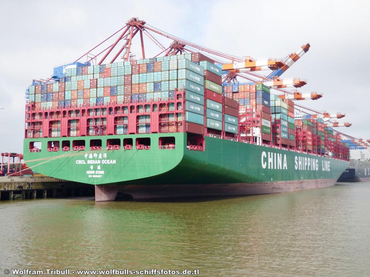 CSCL INDIAN OCEAN aufgenommen am 05. August 2016 bei Hamburg Höhe Container Terminal Eurogate