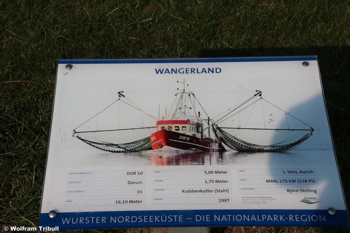 DOR 10 WANGERLAND aufgenommen am 17.07.2018 im Hafen von Dorum-Neufeld
