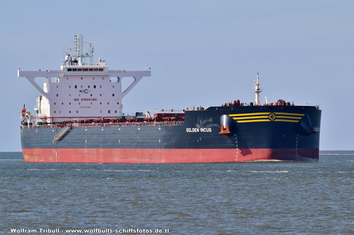GOLDEN INCUS am 19.07.2018 bei Cuxhaven Höhe Steubenhöft beim Erstanlauf in den Hamburger Hafen