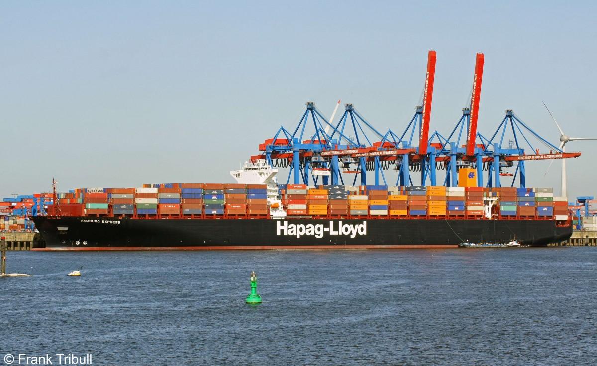 HAMBURG EXPRESS aufgenommen bei Hamburg-Altenwerder beim Erstanlauf in den Hamburger Hafen am 15.08.2012
