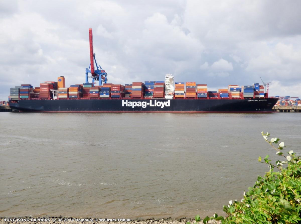 HONG KONG EXPRESS aufgenommen am 12.08.2014 bei Hamburg Höhe Container Terminal Altenwerder