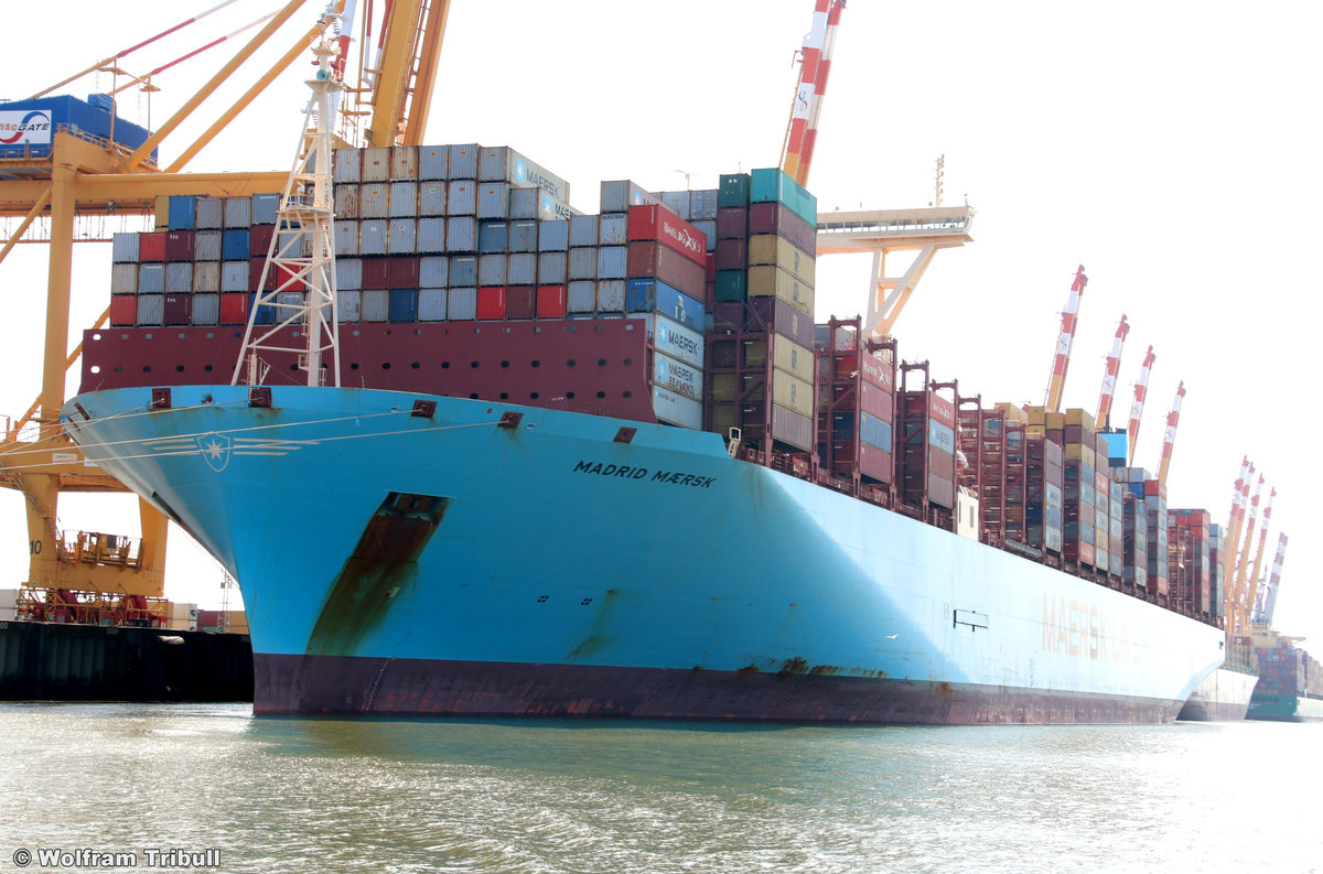 MADRID MAERSK am 28. Juli 2019 bei Bremerhaven Höhe Container Terminal MSC Gate