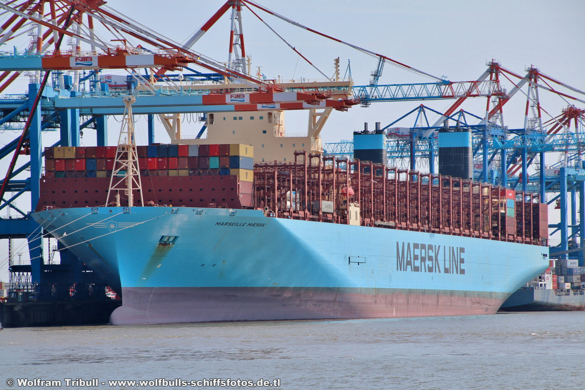 MARSEILLE MAERSK am 26.07.2018 bei Bremerhaven Höhe Container Terminal NTB