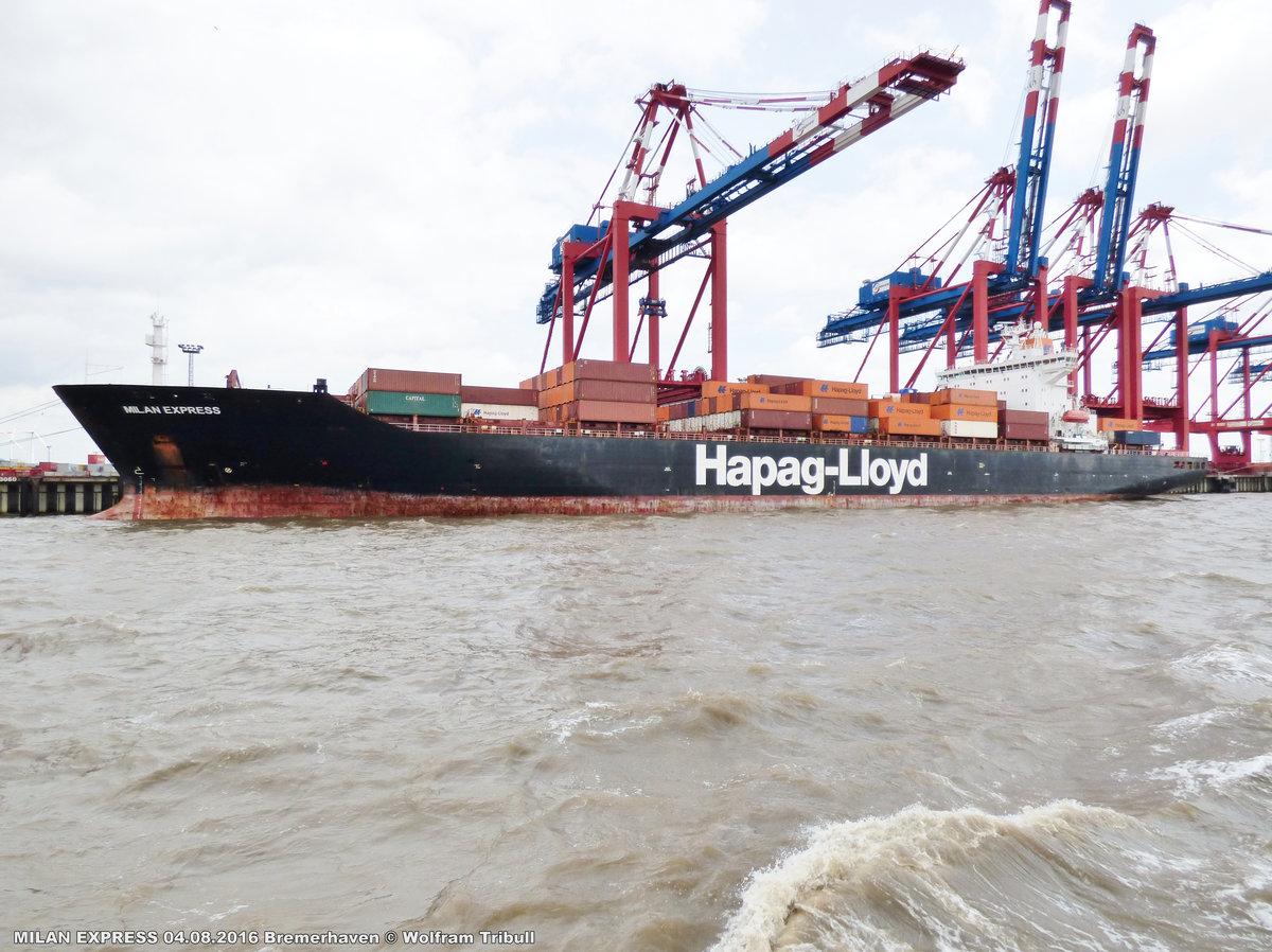 MILAN EXPRESS aufgenommen am 04.08.2016 bei Bremerhaven Höhe Container Terminal Eurogate