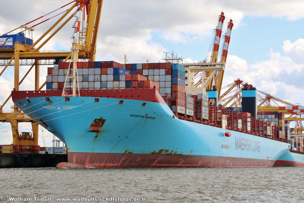 MORTEN MAERSK aufgenommen am 06.08.2017 bei Bremerhaven Höhe Container Terminal MSC Gate