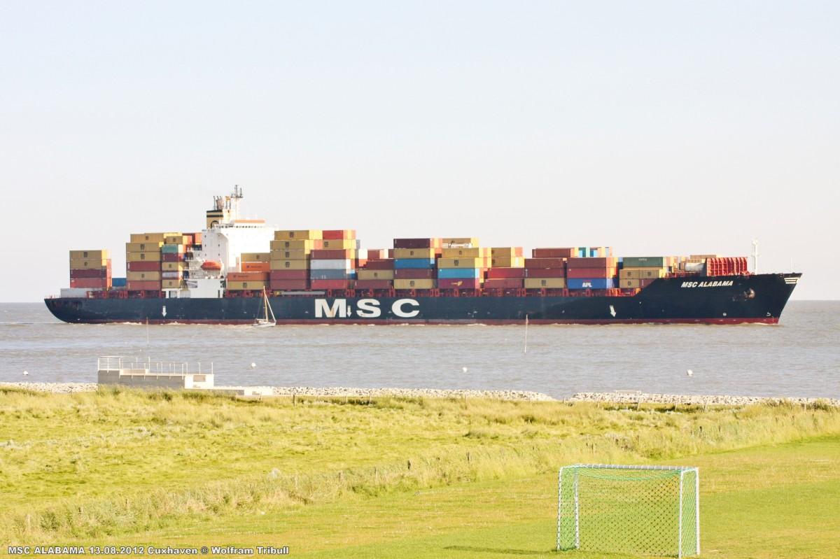 MSC ALABAMA am 13.08.2012 bei Cuxhaven Höhe Altenbruch
