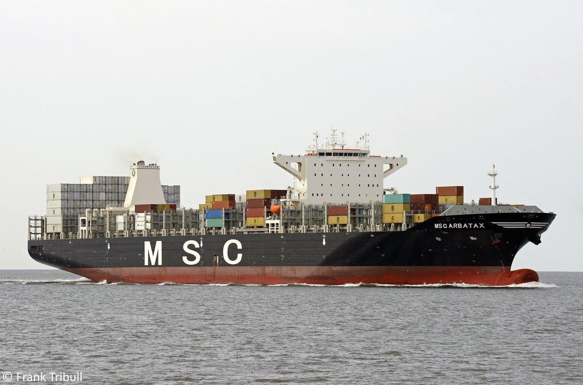 MSC ARBATAX aufgenommen am 06.08.2014 bei Cuxhaven Höhe Steubenhöft