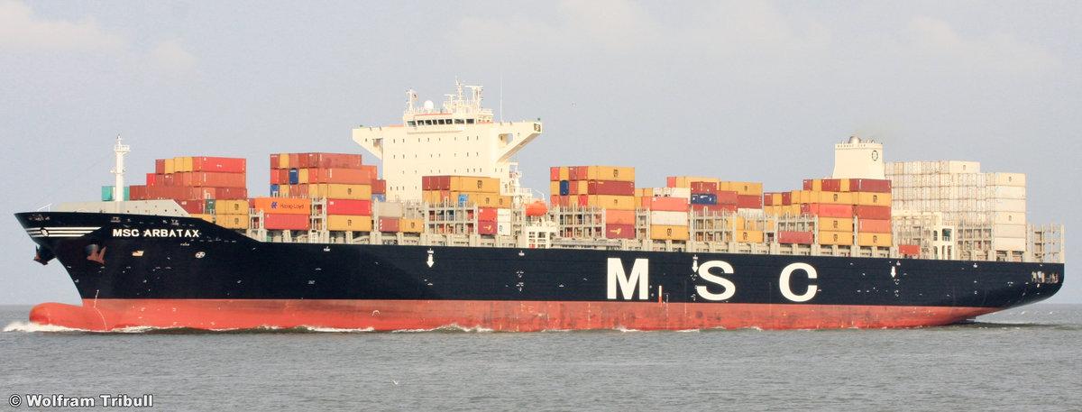 MSC ARBATAX aufgenommen am 07.08.2014 bei Cuxhaven Höhe Steubenhöft