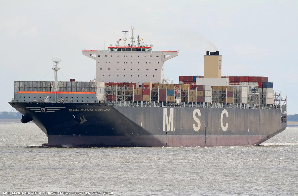 MSC MARIA SAVERIA aufgenommen am 10. August 2016 bei Cuxhaven Höhe Steubenhöft