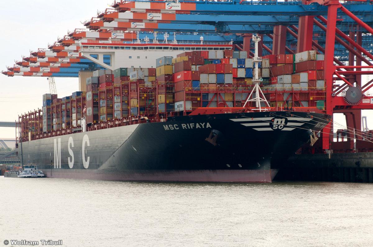 MSC RIFAYA am 27.09.2018 bei Hamburg Höhe Container Terminal Eurogate