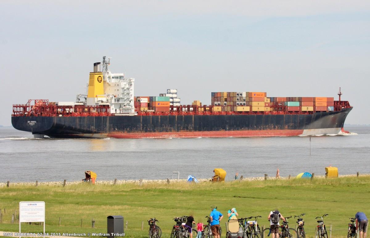 MSC ROBERTA aufgenommen bei Cuxhaven Höhe Altenbruch am 02.08.2015