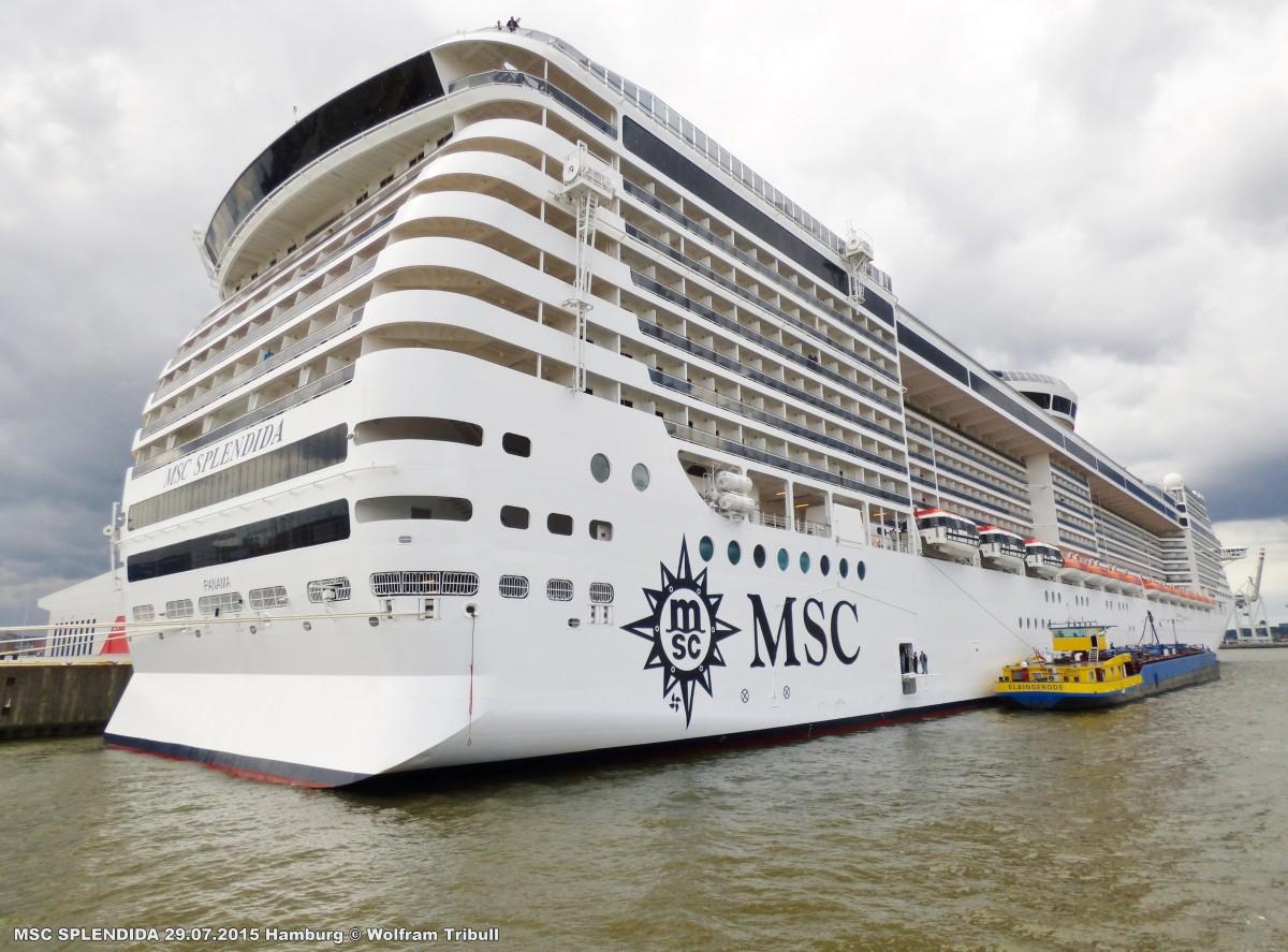 MSC SPLENDIDA aufgenommen bei Hamburg Höhe Cruise Terminal Steinwerder am 29.07.2015