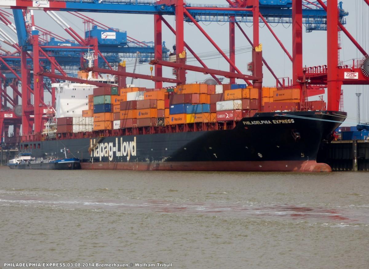 PHILADELPHIA EXPRESS aufgenommen am 03.08.2014 bei Bremerhaven Höhe Container Terminal Eurogate