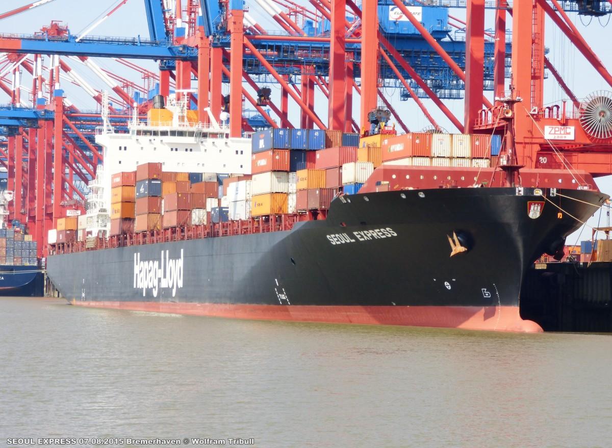 SEOUL EXPRESS aufgenommen bei Bremerhaven Höhe Container Terminal Eurogate am 07.08.2015