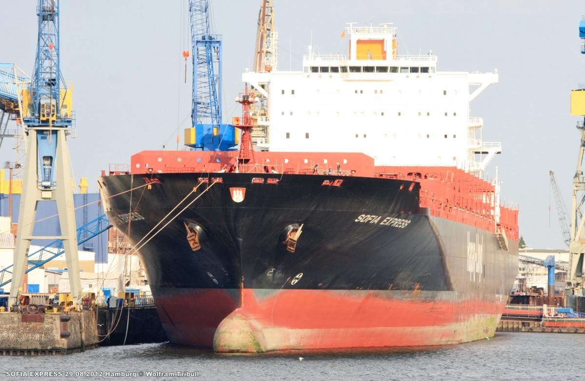 SOFIA EXPRESS am 29.08.2012 im Hafen von Hamburg