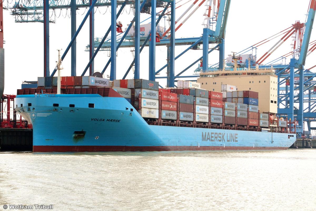 VOLGA MAERSK am 28. Juli 2019 bei Bremerhaven Höhe Container Terminal NTB